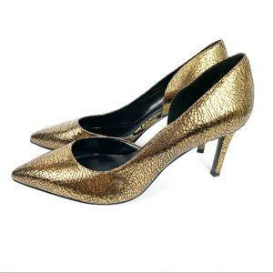 Nine West NEW Stefao Gold Crackle Heels Size 9